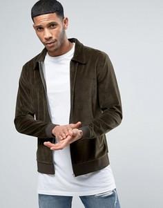 Велюровая куртка Харрингтон цвета хаки ASOS - Зеленый