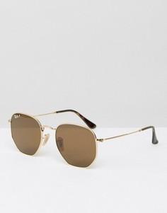 Золотистые круглые солнцезащитные очки с поляризованными стеклами Ray-Ban 0RB3548N - Золотой