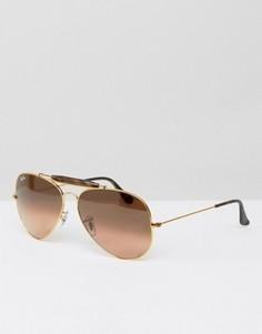 Золотистые солнцезащитные очки-авиаторы с черепаховой планкой Ray-Ban 0RB3029 - Золотой