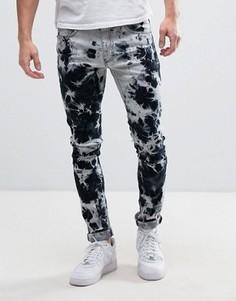 Черные зауженные джинсы с принтом тай-дай и эффектом омбре Liquor & Poker - Черный