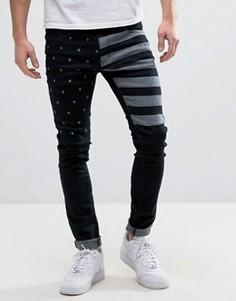 Черные зауженные джинсы с полосками и звездами Liquor & Poker - Черный