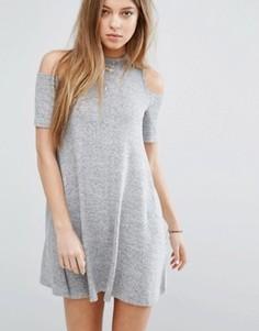 Платье с вырезами на плечах Hollister - Серый