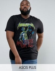 Длинная футболка с принтом Justice For All ASOS PLUS Metallica - Черный