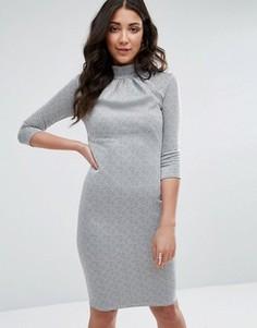 Платье-футляр с высокой горловиной и рукавами 3/4 City Goddess - Серый
