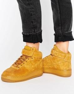Светло-коричневые высокие замшевые кроссовки-премиум Nike Air Force 1 Upstep - Бежевый