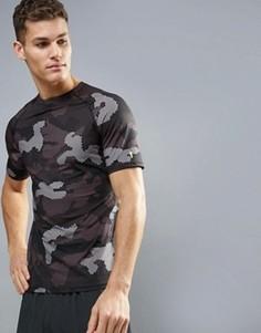 Черная футболка с камуфляжным принтом New Look SPORT - Черный