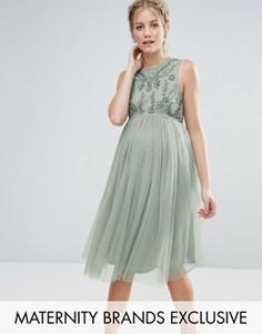 Декорированное платье миди без рукавов с юбкой из тюля Maya Maternity - Зеленый