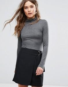 Топ с отворотом на воротнике New Look - Серый