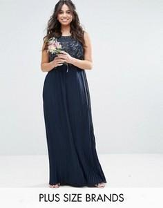 Платье макси с декорированным лифом и плиссированной юбкой Lovedrobe Luxe - Темно-синий