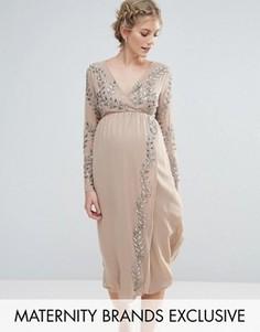 Декорированное платье миди с запахом Maya Maternity - Розовый