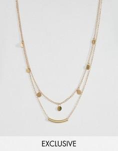 Ярусное ожерелье с дисками и планкой Reclaimed Vintage Inspired - Золотой