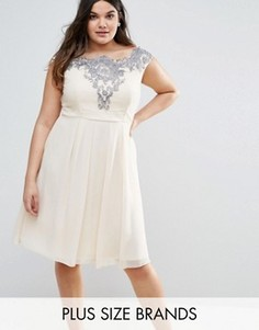 Шифоновое платье Little Mistress Plus - Кремовый