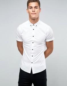 Белая рубашка зауженного кроя с контрастными пуговицами и воротником на пуговицах ASOS - Белый