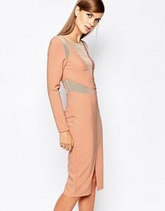 Облегающее платье с сетчатой вставкой The 8th Sign - Розовый