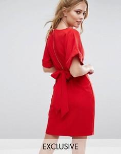 Платье миди с завязкой сзади и разрезом спереди Closet - Красный