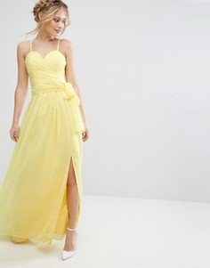 Платье макси с вырезом сердечком и запахом на юбке Forever Unique - Желтый
