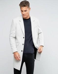 Серое меланжевое пальто из шерстяной смеси ASOS - Stone