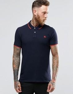 Темно-синяя футболка-поло узкого кроя с логотипом Paul Smith - Темно-синий