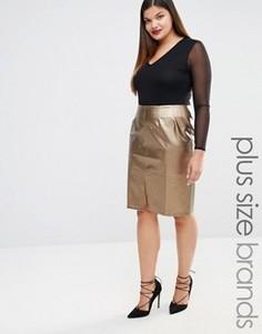 Декорированная юбка‑карандаш из искусственной кожи Elvi - Золотой