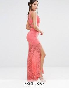 Кружевное платье макси с глубоким вырезом и шлейфом Love Triangle - Мульти