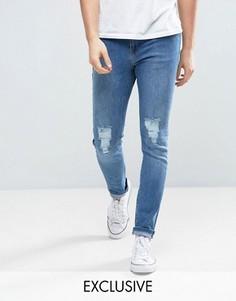 Рваные джинсы скинни в винтажном стиле Brooklyn Supply Co - Синий