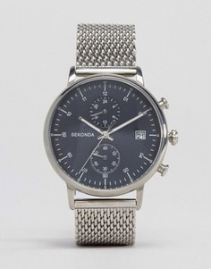 Серебристые часы с хронографом и сетчатым браслетом Sekonda - Серебряный