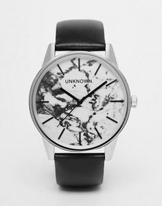 Часы с 39 мм мраморным циферблатом и кожаным ремешком UNKNOWN - Черный