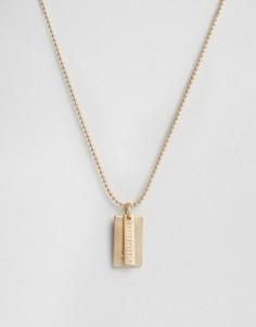 Золотистое матовое ожерелье с армейским жетоном с логотипом Chained & Able - Золотой