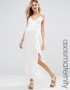 Пляжное платье макси для беременных с оборками и запахом ASOS Maternity - Белый