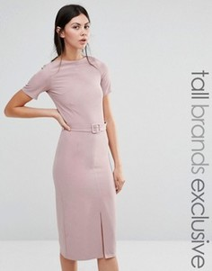 Платье-футляр с разрезом спереди и ремнем Alter Tall - Розовый
