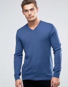 Джемпер из кашемировой смеси с V‑образным вырезом Esprit - Темно-синий