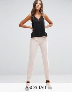 Укороченные брюки-сигареты из крепа ASOS TALL - Розовый