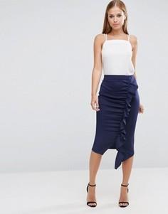 Удлиненная юбка-карандаш с рюшами ASOS - Синий