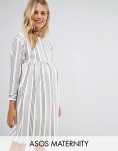 Свободное платье в полоску ASOS Maternity - Мульти