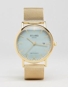 Золотистые часы с сетчатым ремешком и серым циферблатом Reclaimed Vintage - Золотой