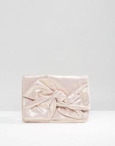 Клатч металлик с бантом ASOS - Розовый