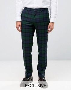 Облегающие брюки из 100% шерсти в клетку Heart & Dagger - Темно-синий