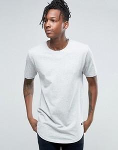 Удлиненная футболка с асимметричным краем Only & Sons - Серый