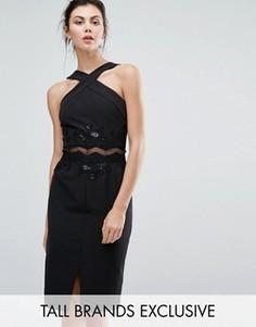 Платье-футляр с кружевной аппликацией Little Mistress Tall - Черный