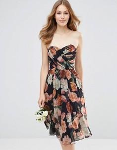 Шифоновое платье‑бандо миди с цветочным принтом ASOS WEDDING - Мульти