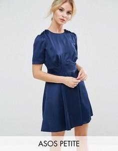 Атласное чайное платье с короткими рукавами и пуговицами ASOS PETITE - Темно-синий
