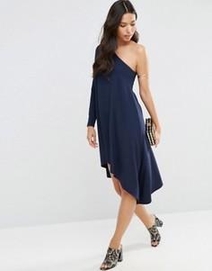 Cвободное платье миди на одно плечо ASOS - Темно-синий