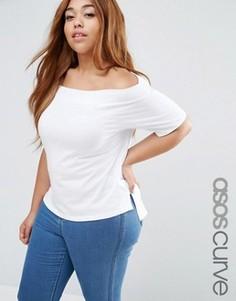 Свободная футболка с открытыми плечами ASOS CURVE - Белый