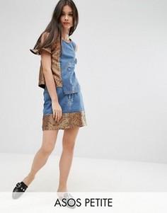 Комбинируемая джинсовая мини-юбка с жаккардовой кромкой ASOS PETITE - Синий