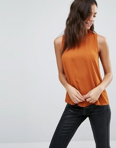 Топ свободного покроя с оборками на горловине New Look - Оранжевый