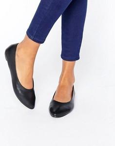 Кожаные балетки с острым носком New Look - Черный