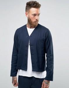 Темно-синяя рубашка-куртка с V-образным вырезом Hart Hollywood by Nick Hart - Темно-синий