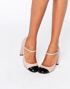 Туфли на каблуке со вставкой на носке ASOS PRESTON - Бежевый