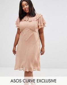 Чайное платье миди с рюшами ASOS CURVE - Розовый
