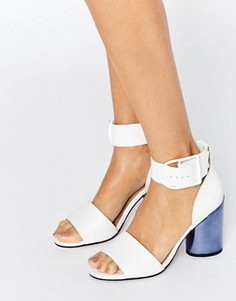 Кожаные сандалии на каблуке ASOS HOLD ON Premium - Белый